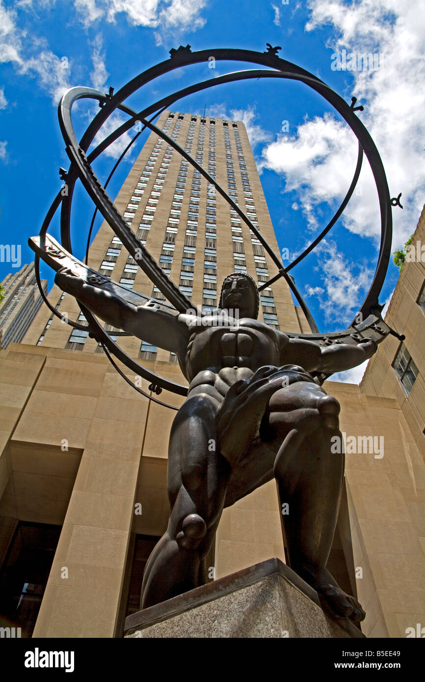 Statue of Atlas, Rockefeller Center, Midtown Manhattan, New York City, New York, USA, North America - Stock Image