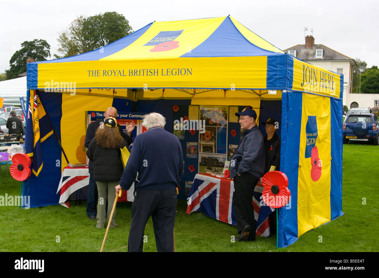 The Royal British Legion Poppy Stall Godstone Summer Fete Surrey Remembrance Day - Stock Image