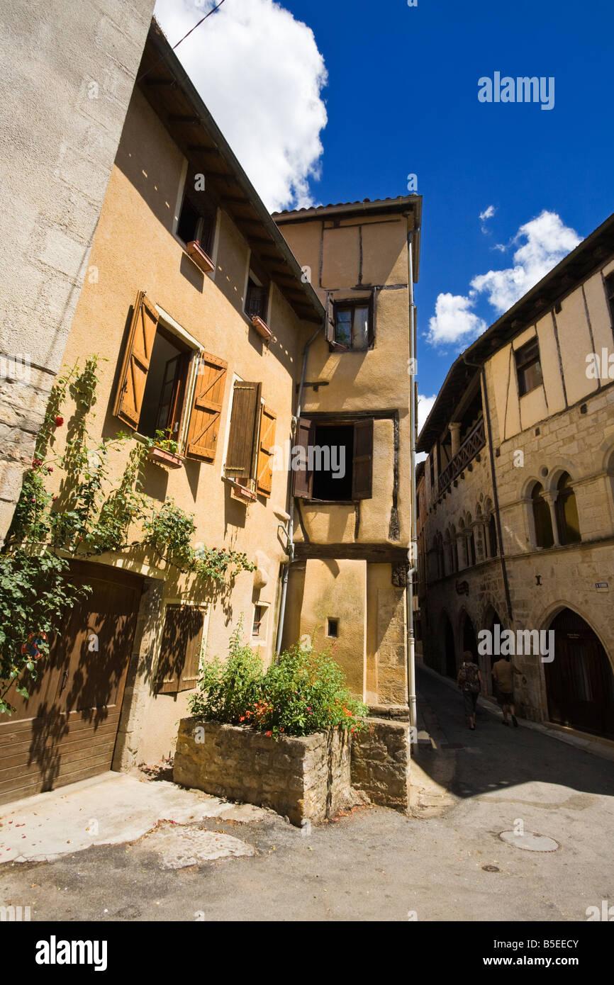 Medieval houses St Antonin Noble Val Tarn et Garonne France Europe - Stock Image