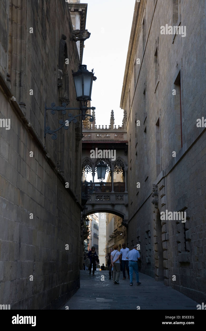 people on a street in the Barri Gotic Gothic Quarter Barcelona Catalonia Spain - Stock Image