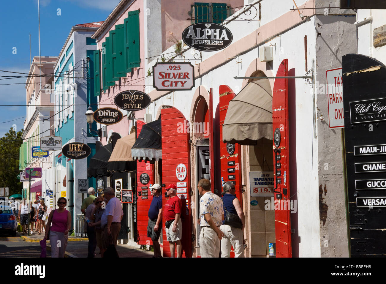 Shops lining the central Main Street, Charlotte Amalie, U.S. Virgin Islands, Leeward Islands, West Indies, Caribbean Stock Photo
