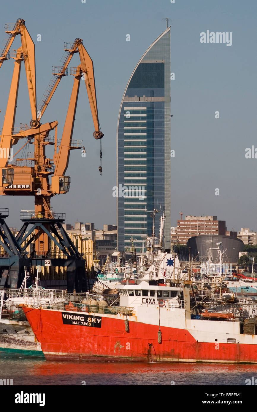 Antel tower and docks Montevideo Uruguay South America Stock Photo
