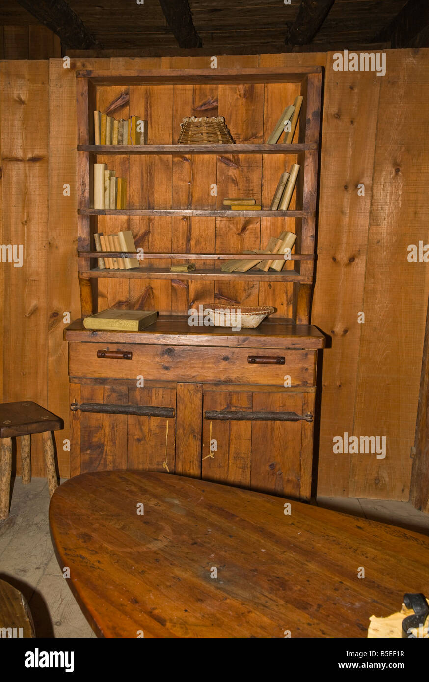 Primitive Living quarters as seen at Sainte-Marie among the Hurons, Midland,Ontario,Canada - Stock Image