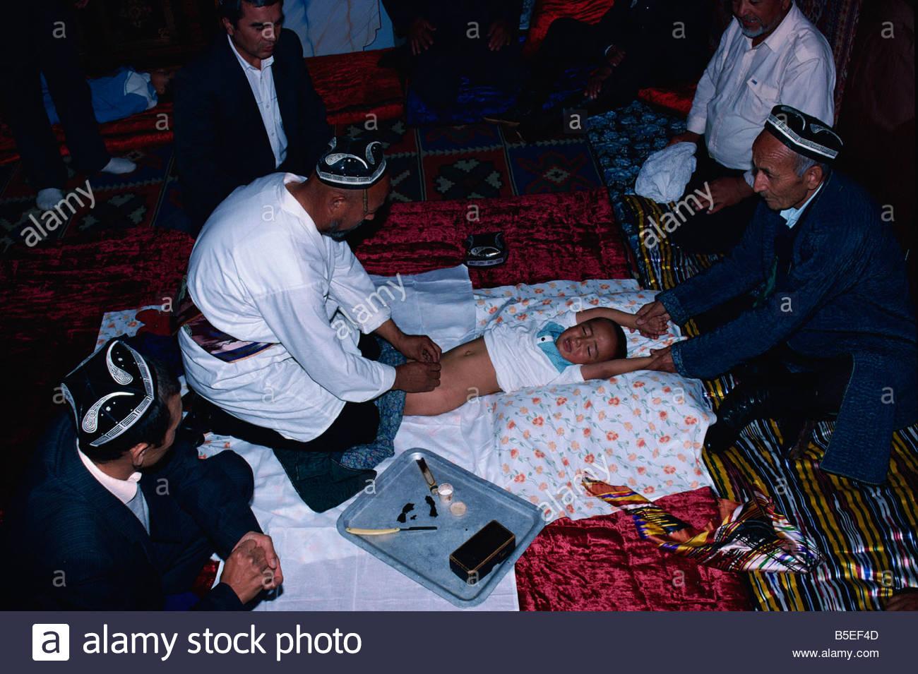 Sunnat Toi circumcision rite Margilan Uzbekistan Central Asia Asia - Stock Image