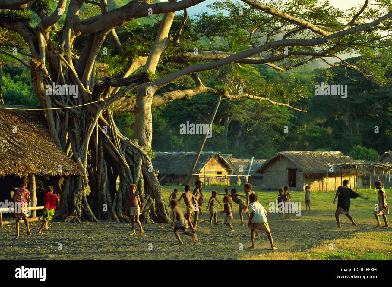Game of tag, Frum village, Sulphur Bay, Tanna, Vanuatu, Pacific Islands, Pacific - Stock Image