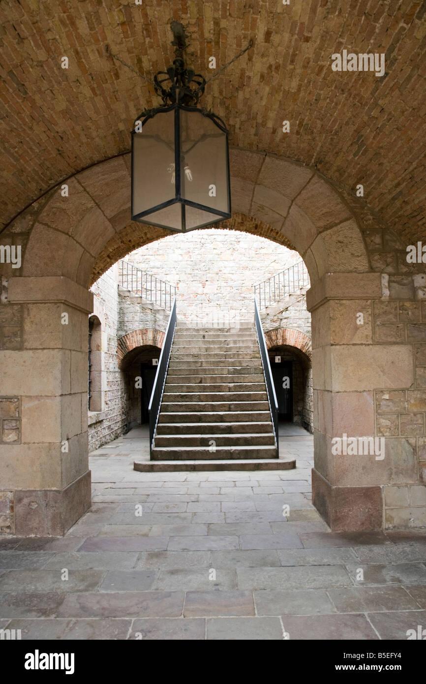Entrance to the castle walls  to  Castell de Montjuïc, Barcelona, Spain - Stock Image