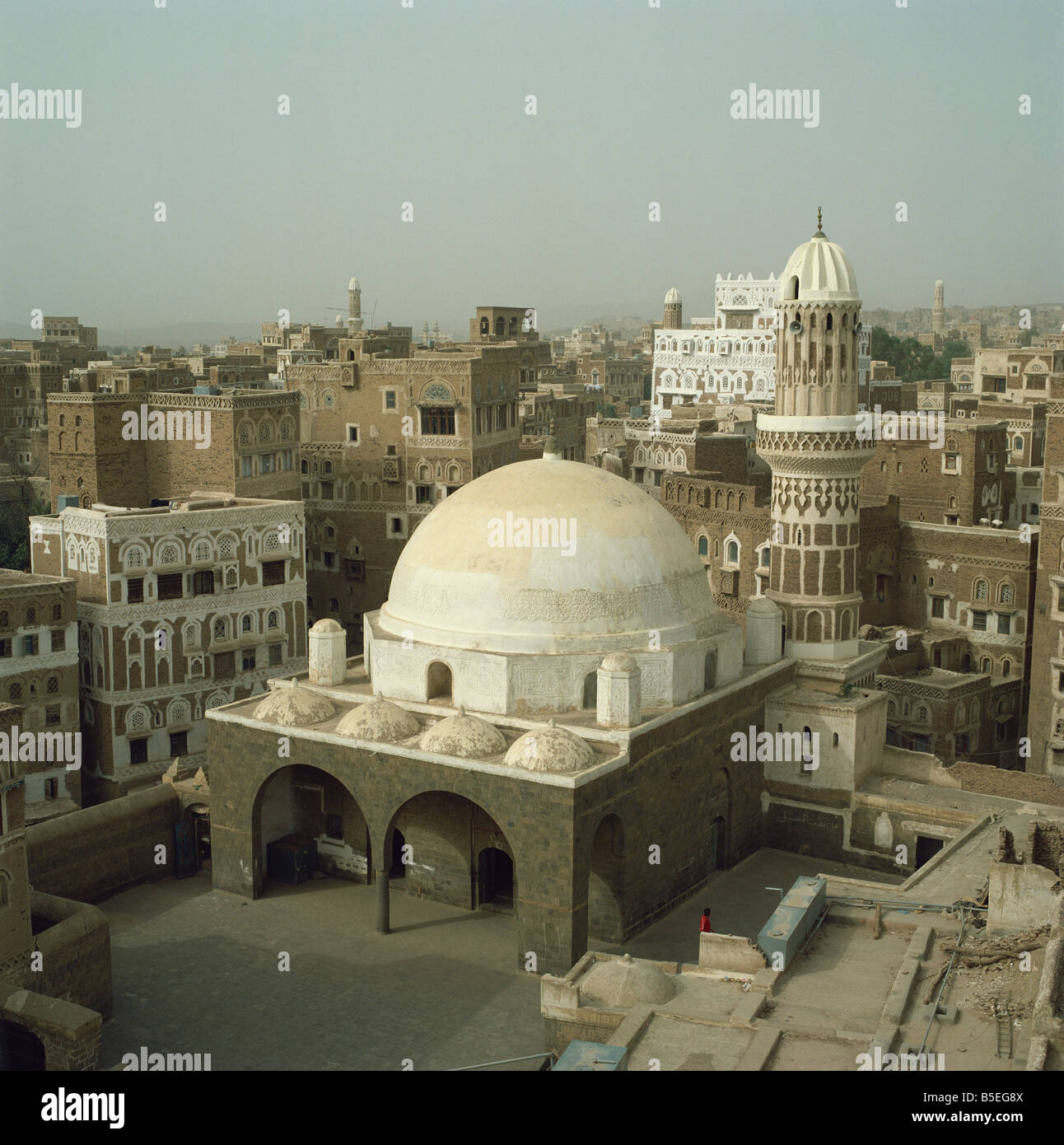 Mosque and city skyline Sana a Yemen Middle East - Stock Image