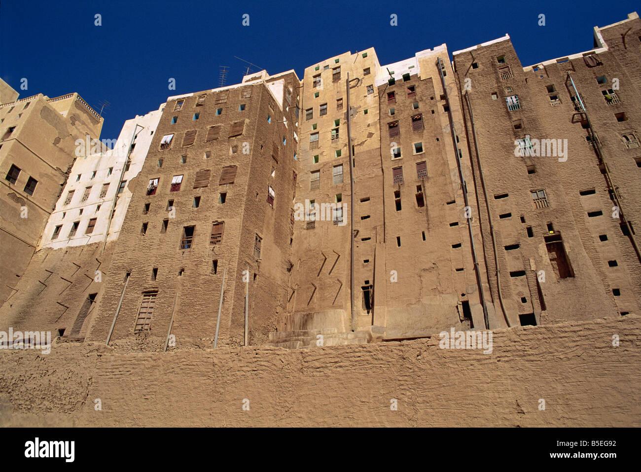 Backs of mud brick houses and toilets, Shibam, UNESCO World Heritage Site, Wadi Hadramaut, Yemen, Middle East - Stock Image