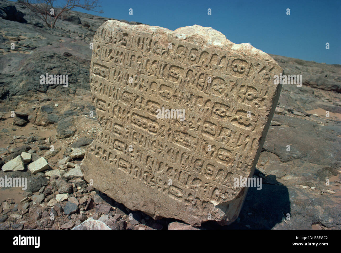 Himyaritic inscriptions in stone fragment, near the Marib Dam, Yemen, Middle East - Stock Image