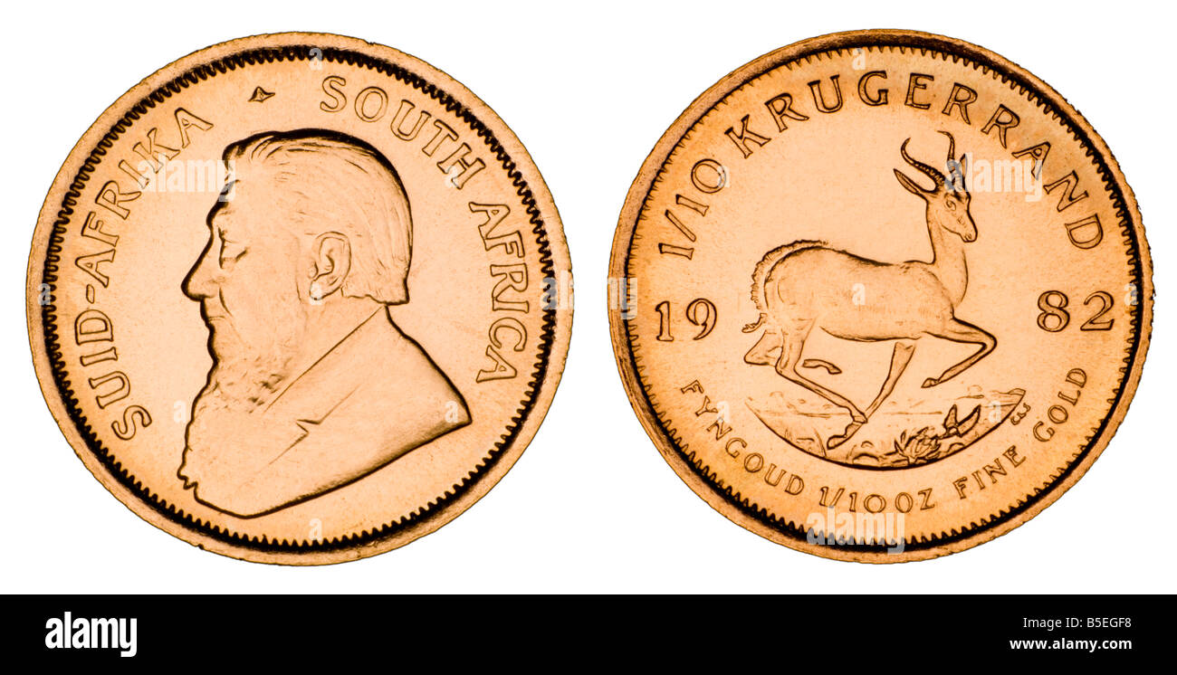Gold 1/10th Krugerrand coin - Stock Image
