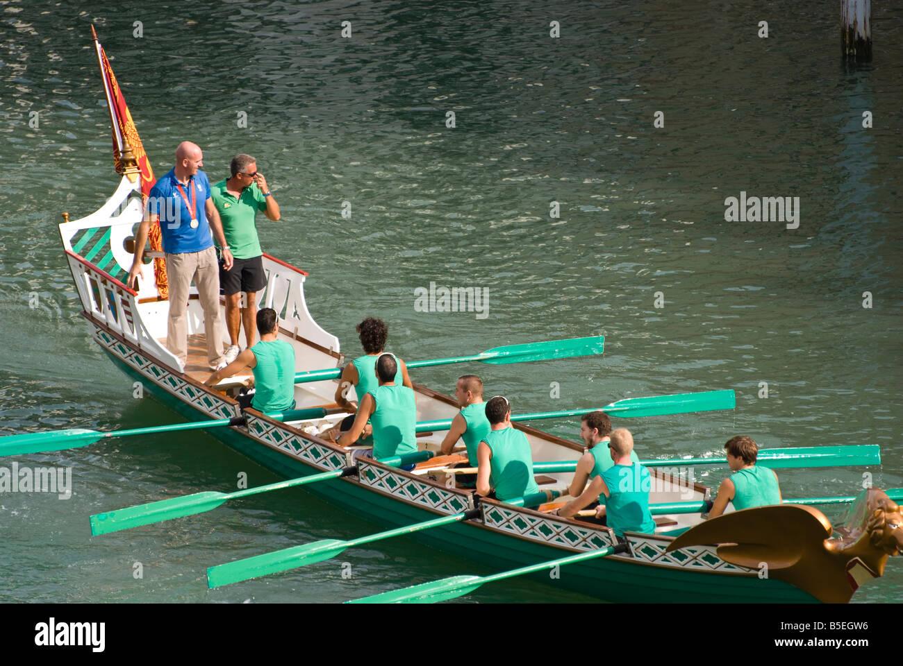 Olimpic champion Rossano Galtarossa during Venice Historical regatta Grand Canal Venice Italy Stock Photo