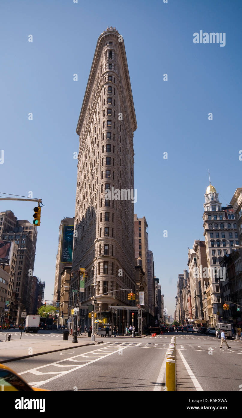 The Flatiron Building at Broadway 5th Avenue and 23rd Street New York USA - Stock Image