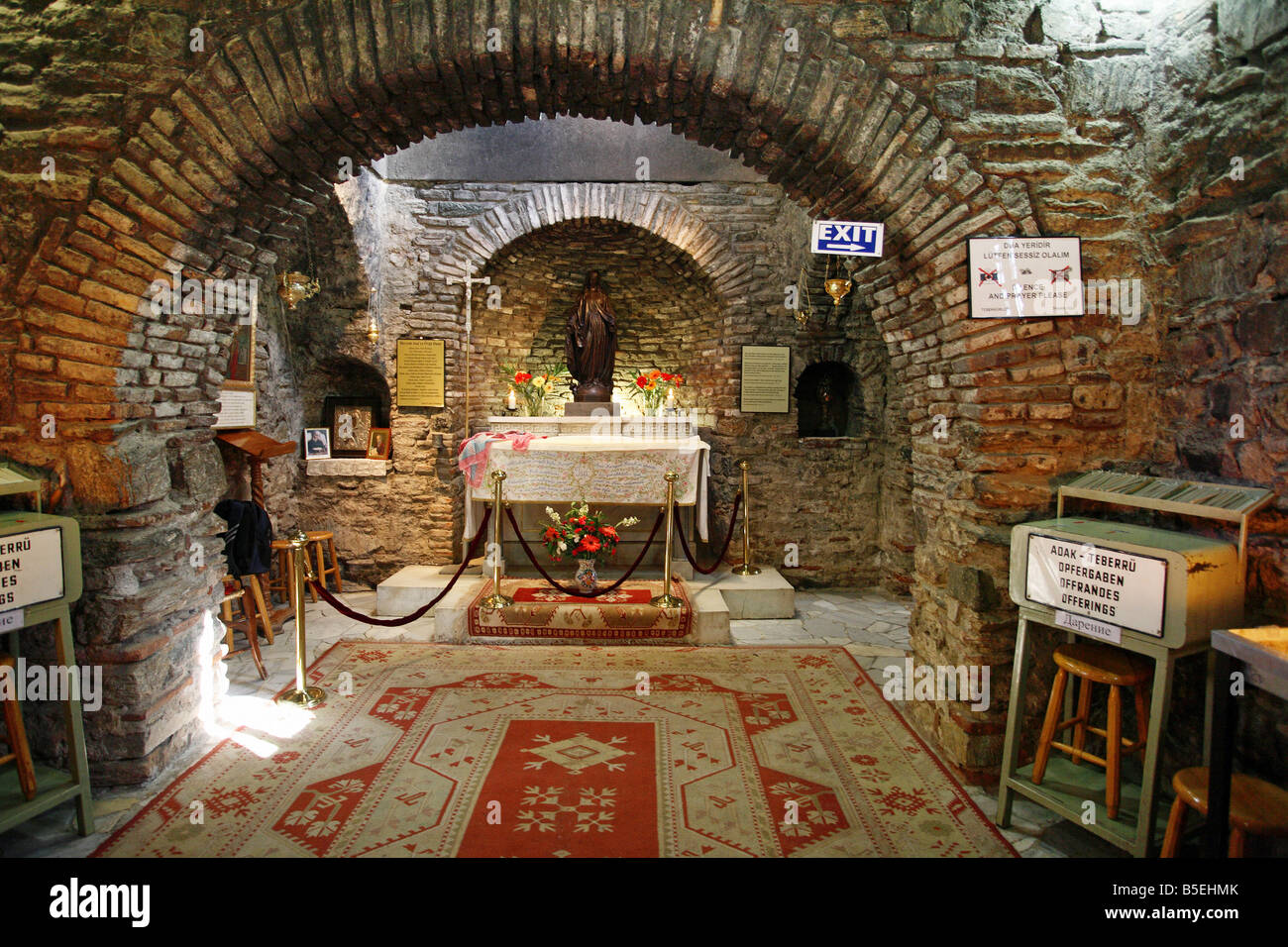 Interior of the House of the Virgin Mary, Ephesus, Turkey Stock Photo