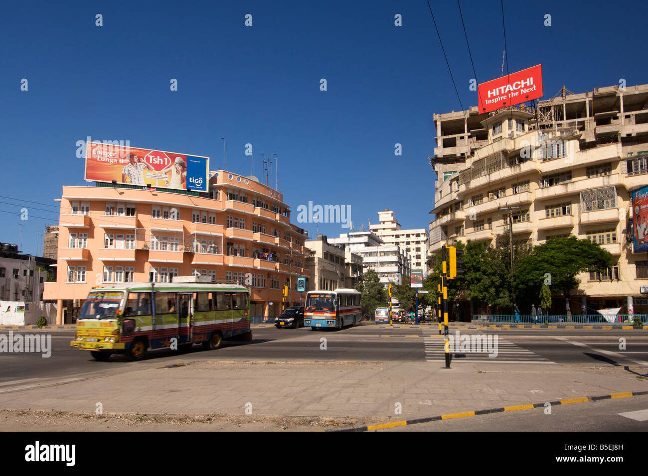 Junction of Bibi Titi Mohammed road and Uhuru road in Dar es Salaam, the capital of Tanzania. - Stock Image