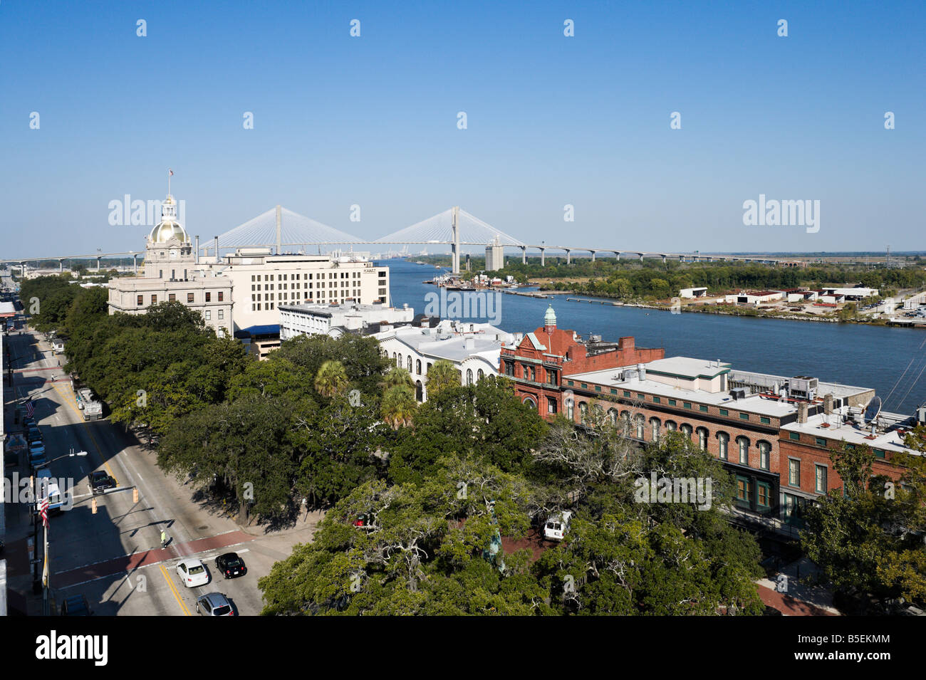 View over the Savannah River looking down Bay Street towards City Hall and the Talmadge Memorial Bridge, Savannah, - Stock Image