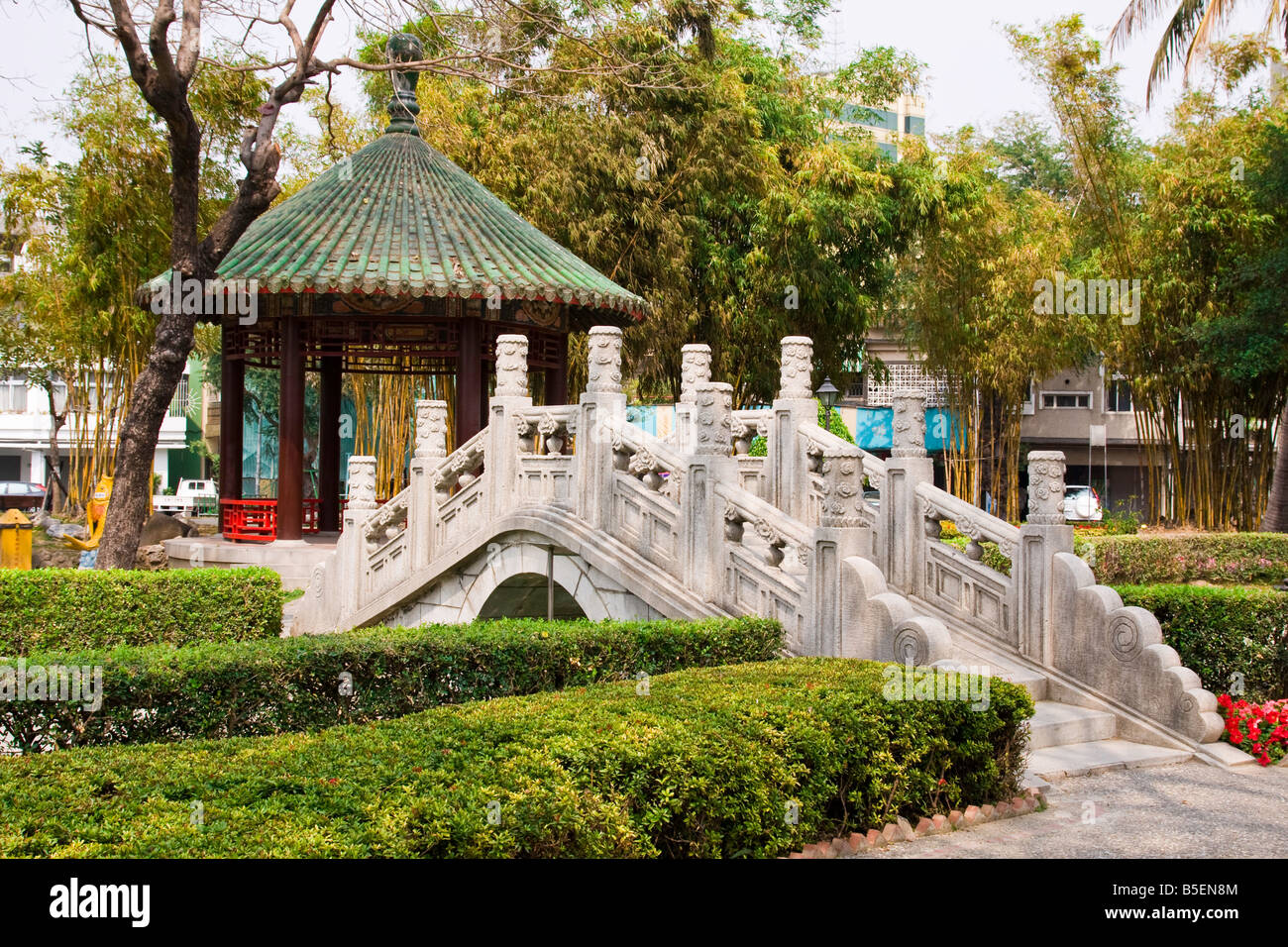 Park in the center of Tainan Taiwan with oriental bridge and pagoda - Stock Image