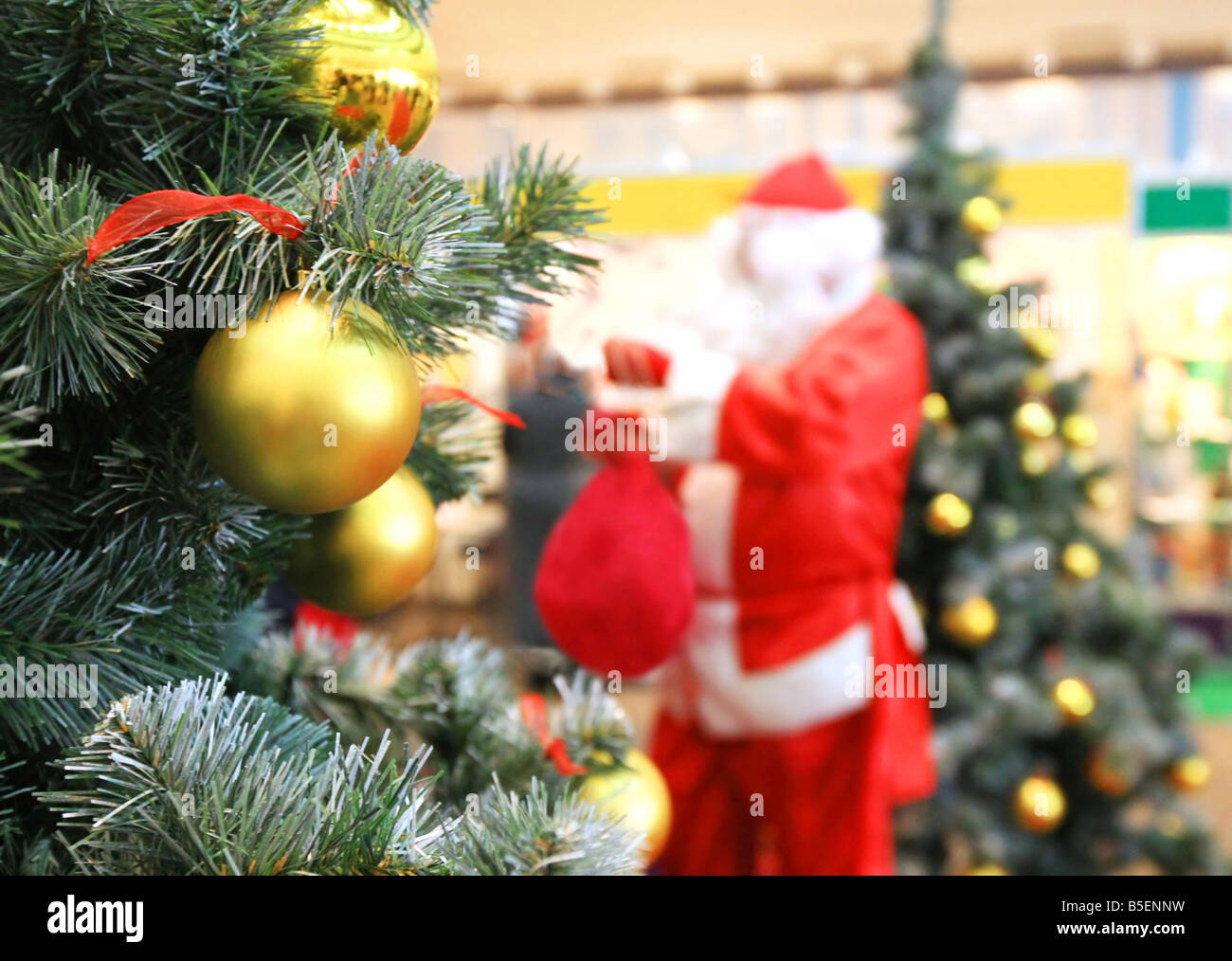 santa claus and new year tree - Stock Image