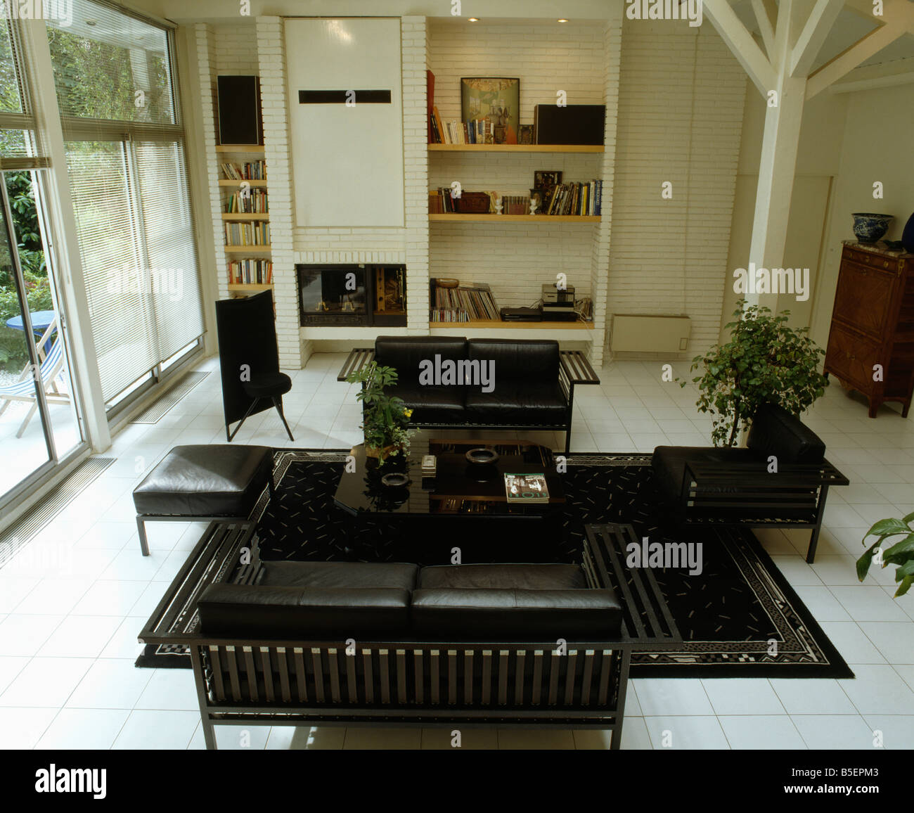 Prime Black Leather Sofa And Chairs On Black Rug In Modern White Alphanode Cool Chair Designs And Ideas Alphanodeonline