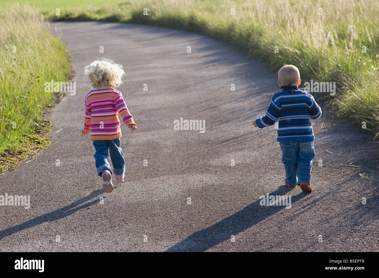 Little girl (2-3) and boy (1-2) running across path, rear view Stock Photo