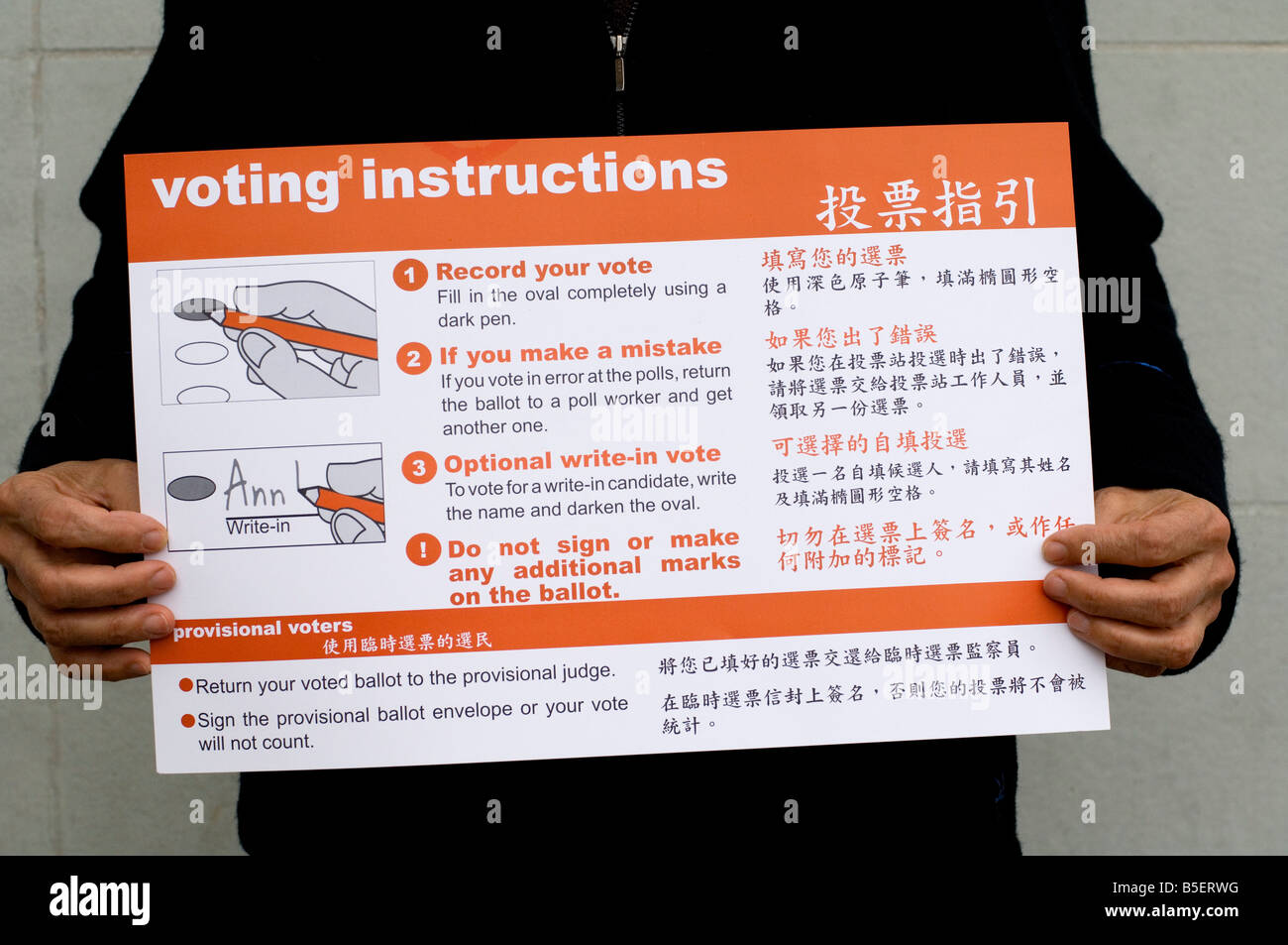 Voting instructions chart held by an American voter on November the 4th, 2008. General Election. - Stock Image