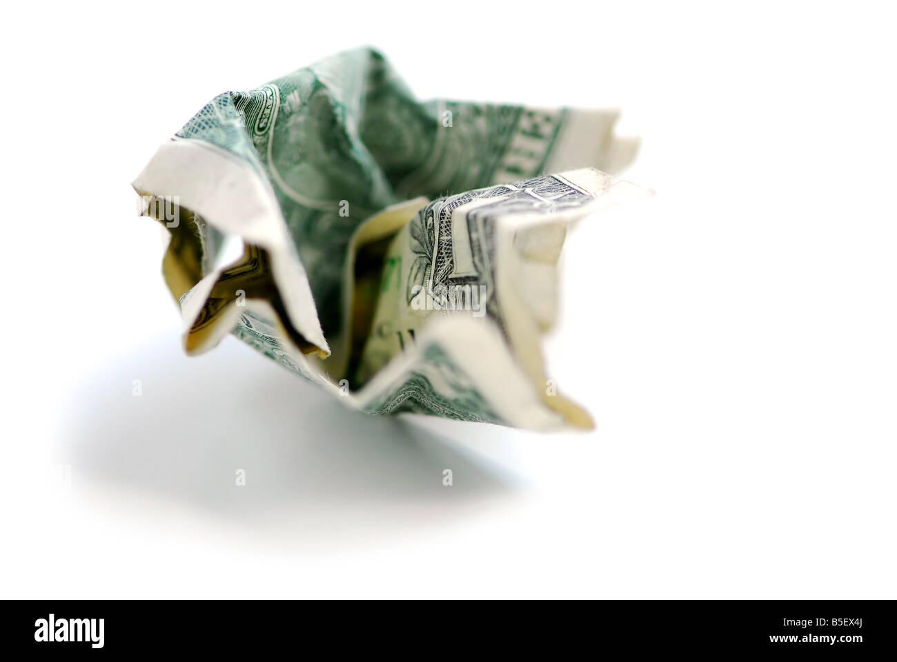 Crumpled one us dollar bill - Stock Image