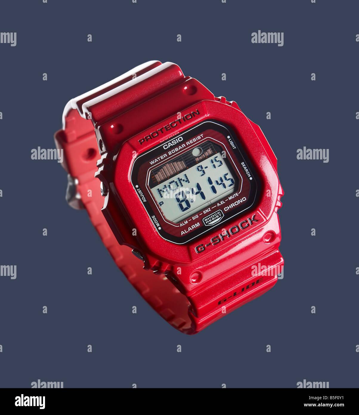 Casio red wrist watch - Stock Image