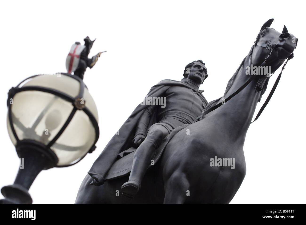 Statue of the Duke of Wellington at Bank City of London - Stock Image