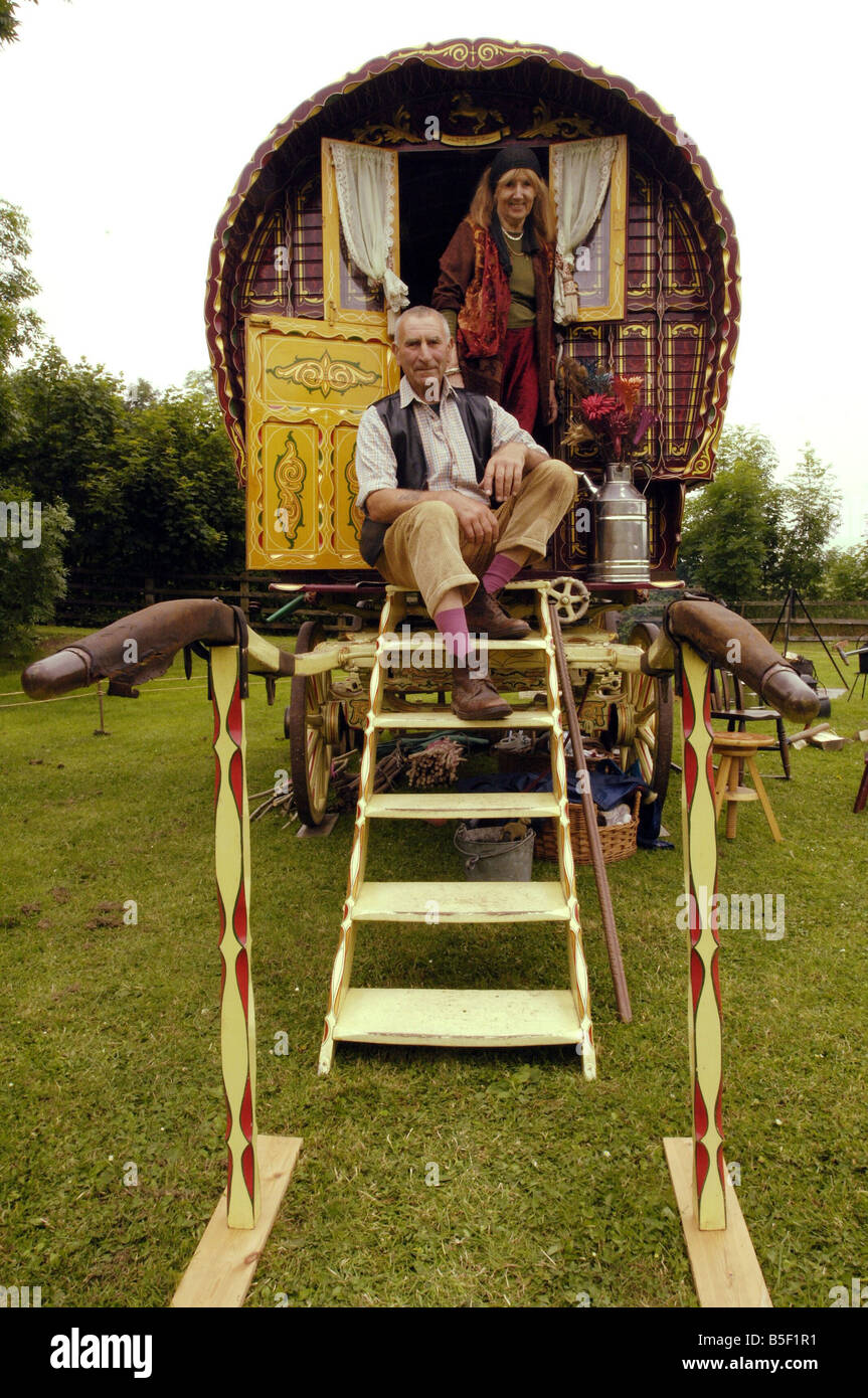 Painted gypsy caravan at Beamish Museum Peter and Joan Smith from the Wirral tour the country with their painted - Stock Image