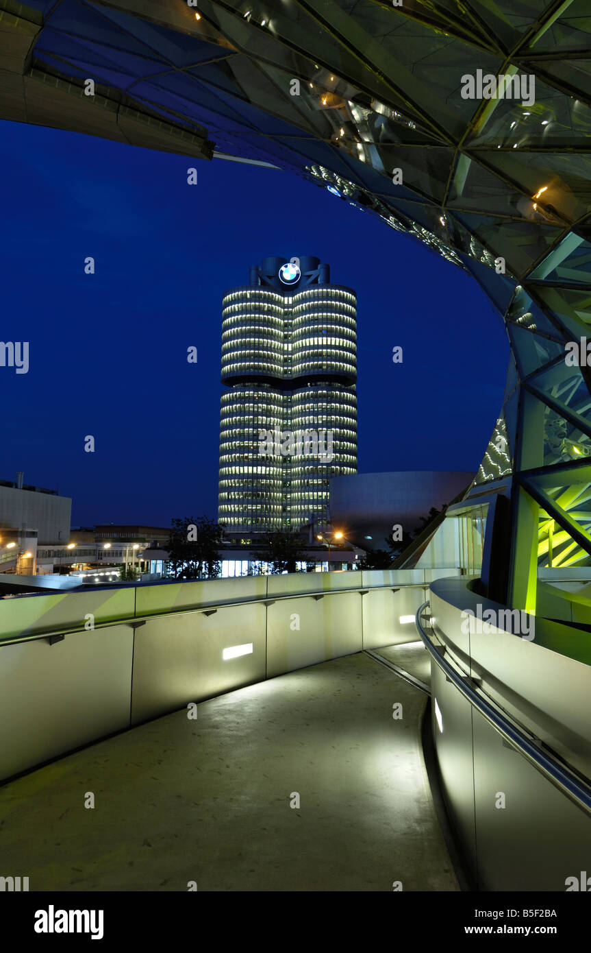 BMW Welt and Headquarters illuminated at night, Munich, Munchen, Bavaria, German - Stock Image