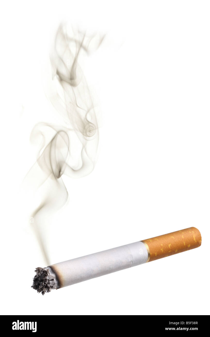 Cigarette with smoke cutout on white background - Stock Image