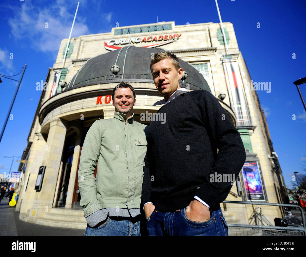 Adam Goodyer left and James Perkins from Brixton South London The pair have a set up a live concert video production Stock Photo