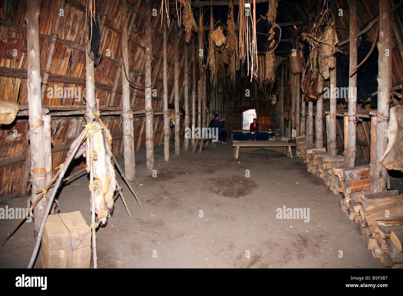 Indian Trappers Furs hung inside the Huron Long house for curing at the authentic Huron Indian Village in Midland - Stock Image