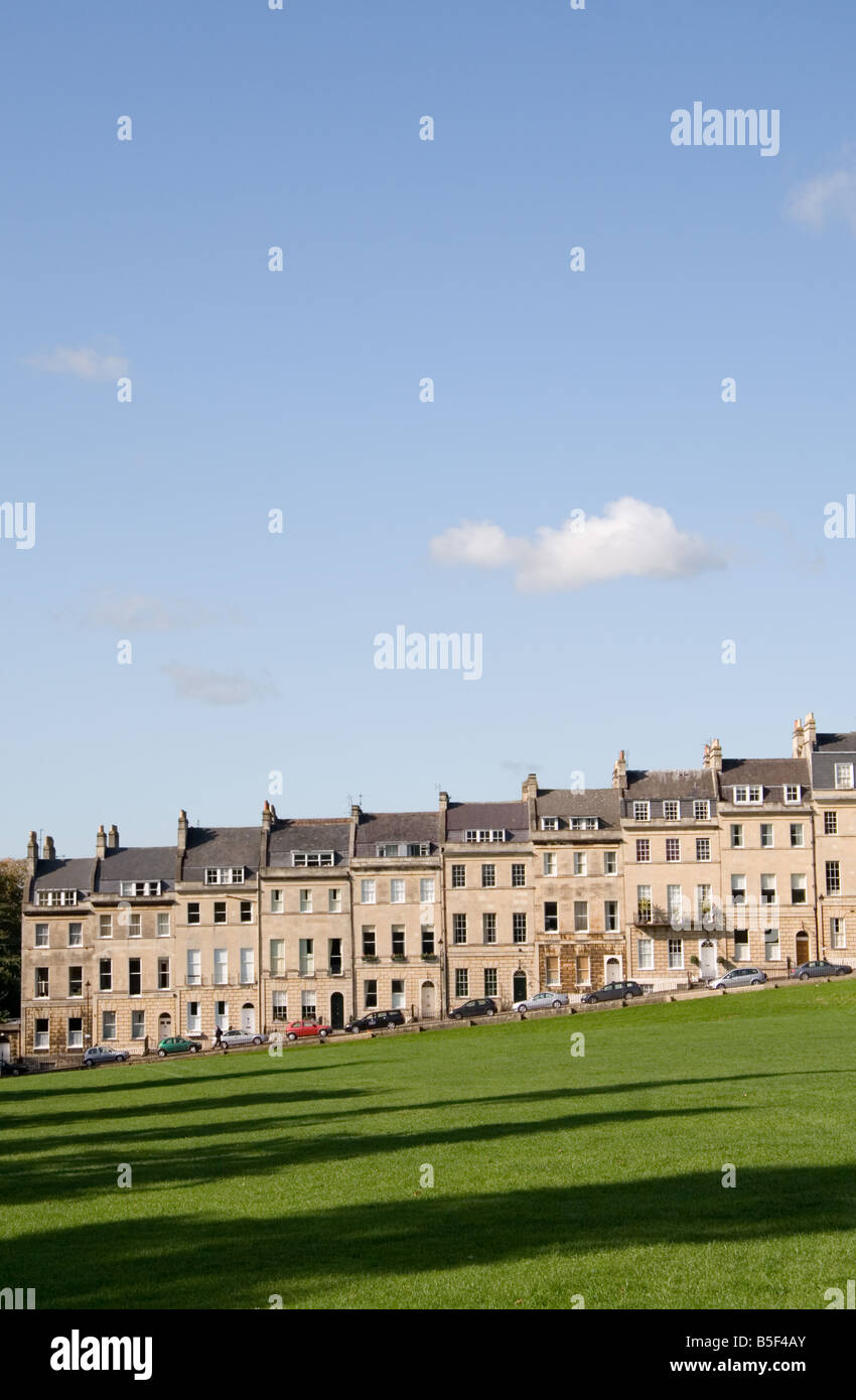 A section of Marlborough Buildings, a Georgian terrace overlooking Victoria Park, Bath, Somerset, UK - Stock Image