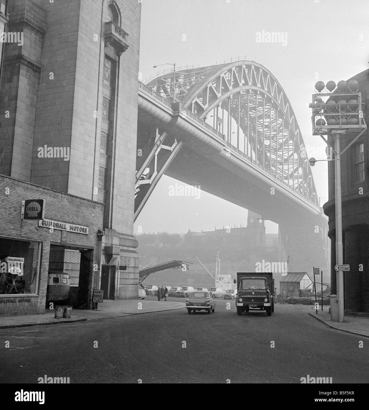 The Tyne Bridge spanning the River Tyne, North East England, linking Newcastle upon Tyne with Gateshead. It was Stock Photo