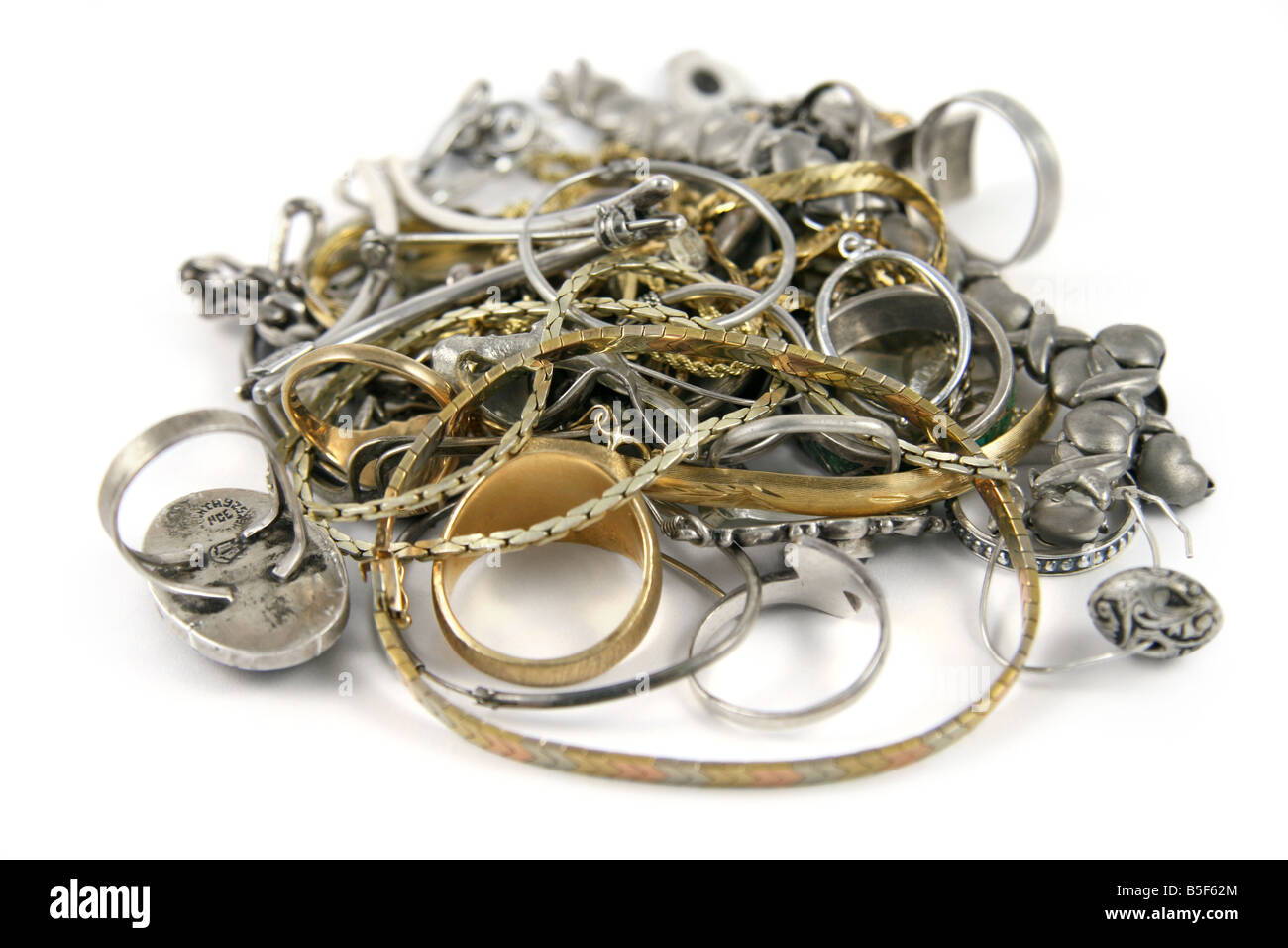 Scrap gold and silver jewelry. - Stock Image