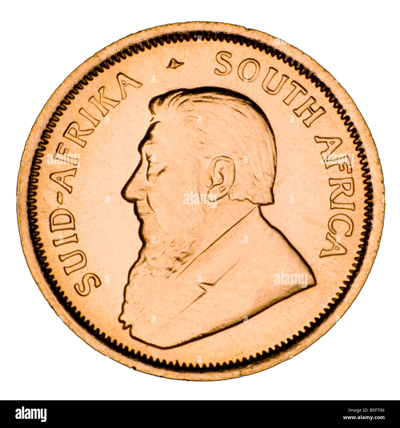 Gold 1/10th Krugerrand coin Obverse - Stock Image