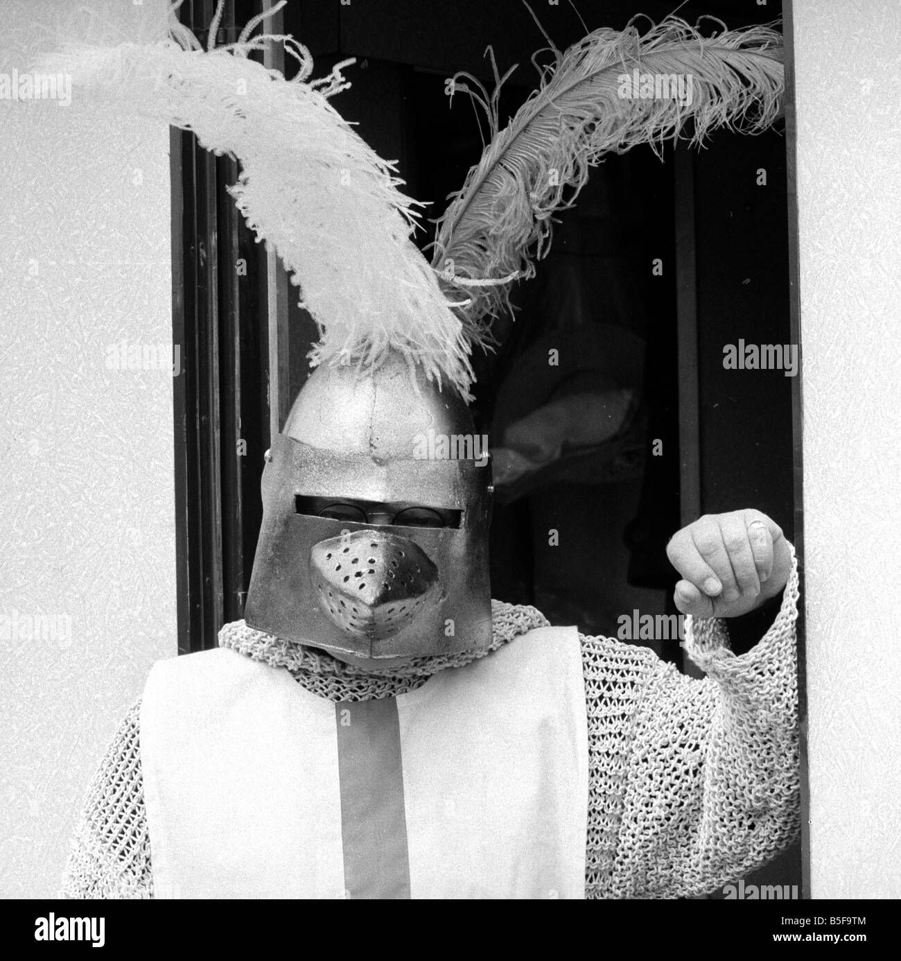 Arthur Lowe dressed up as St George during filming for the