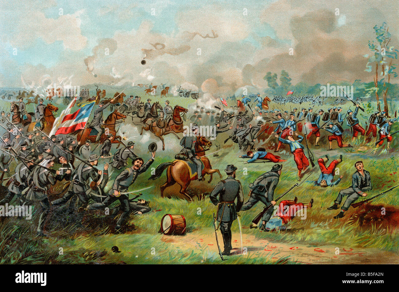 General Stonewall Jackson leading Confederates at the battle of Bull Run 1861. Color lithograph - Stock Image