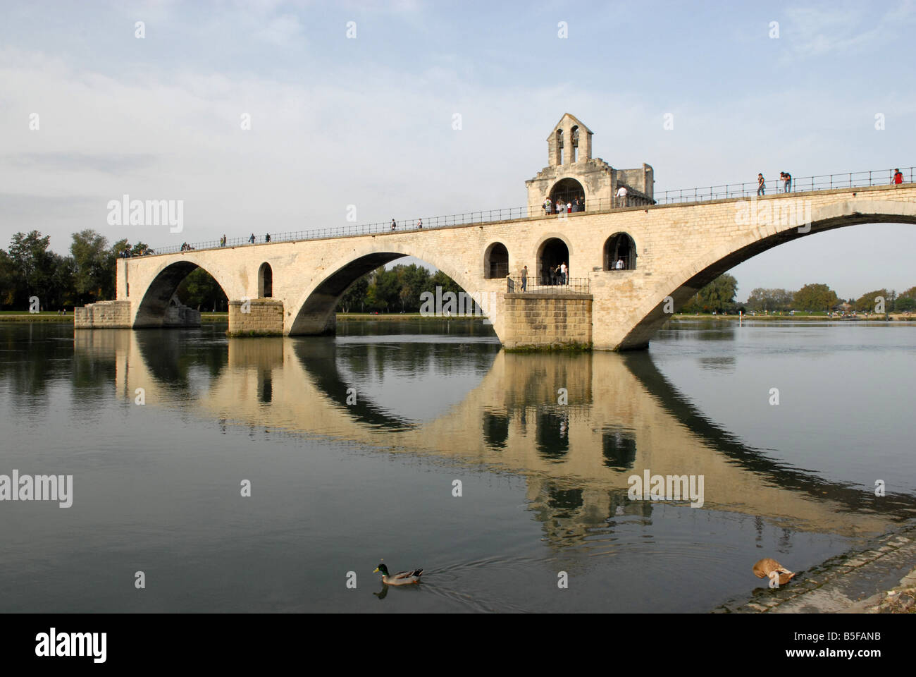 The Pont St Benezet on the River Rhone in Avignon - Stock Image