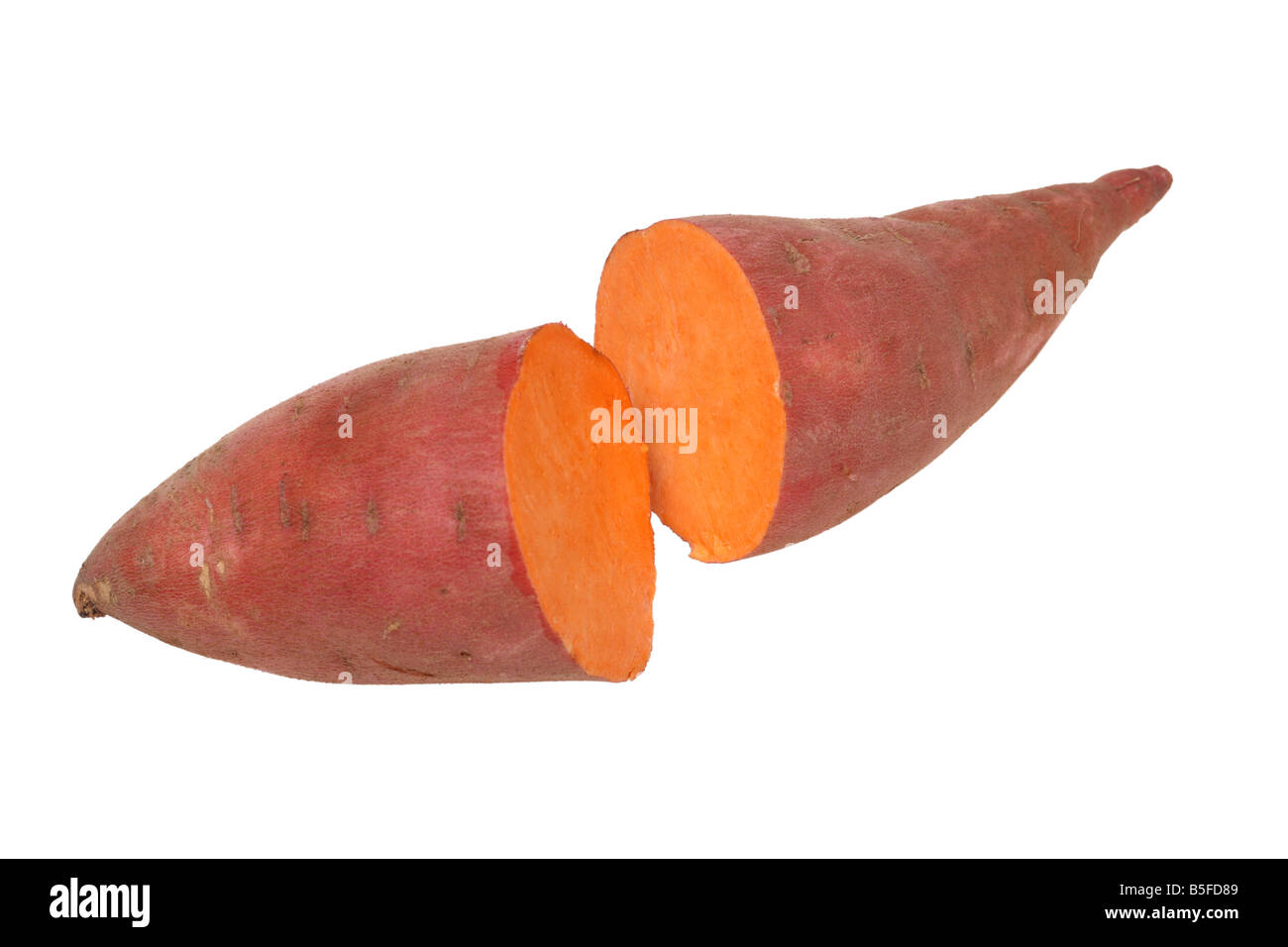 Yam cut in half cutout on white background Stock Photo