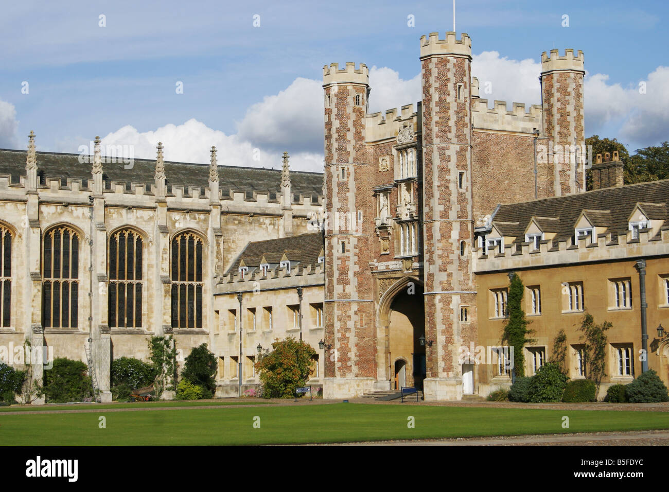 The Great Gate across Great Court, Trinity College, Cambridge - Stock Image