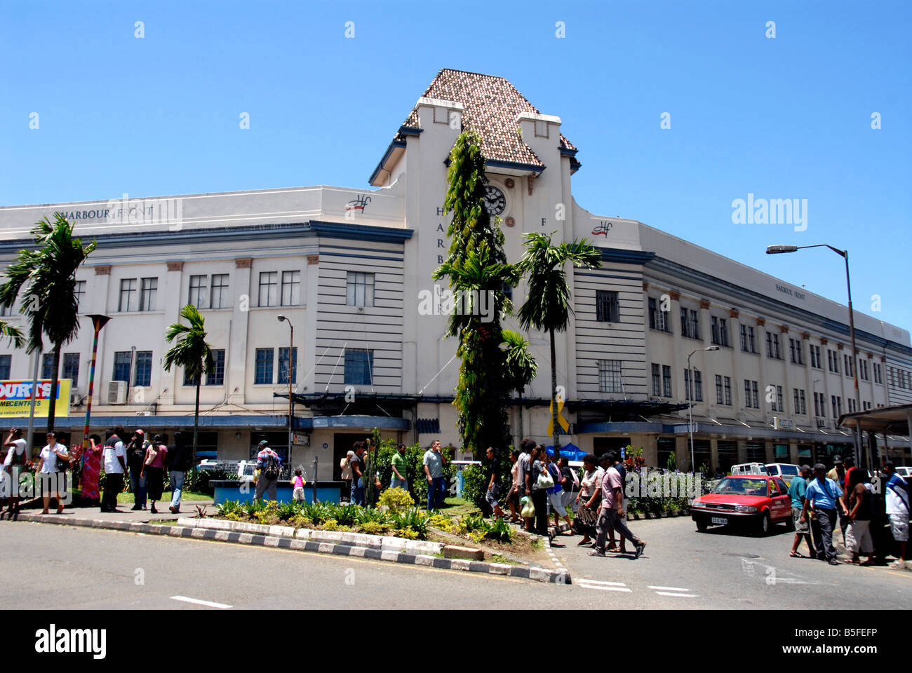 Building, Harbour front, Suva, Fiji - Stock Image