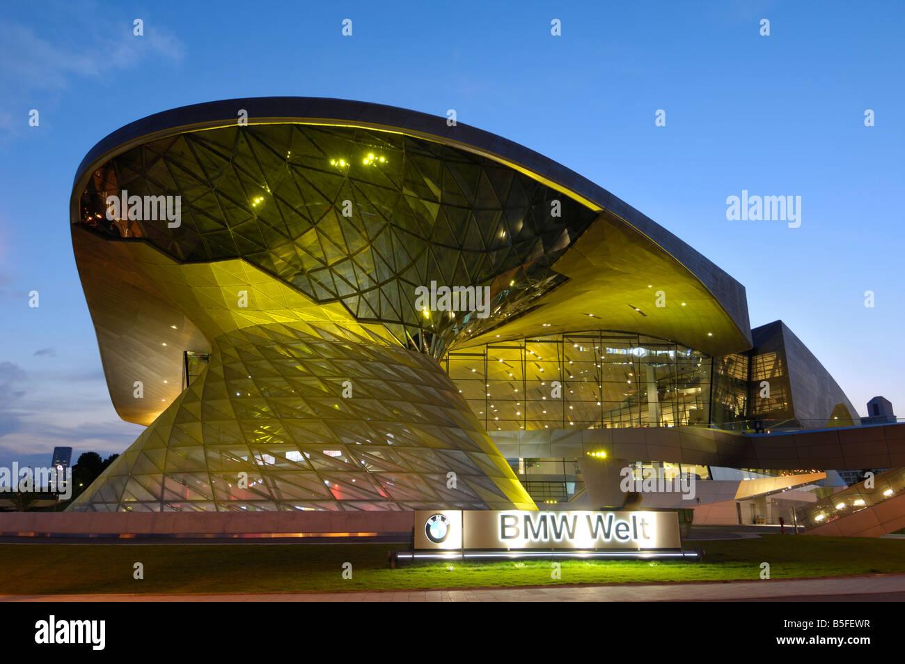 BMW Welt illuminated at night, Munich, Munchen, Bavaria, Germany - Stock Image