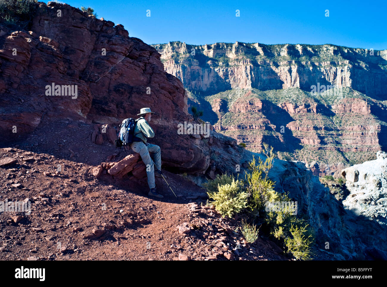 ARIZONA GRAND CANYON Hiker stops to admire the view as he hikes down the South Kaibab Trail into the Grand Canyon - Stock Image