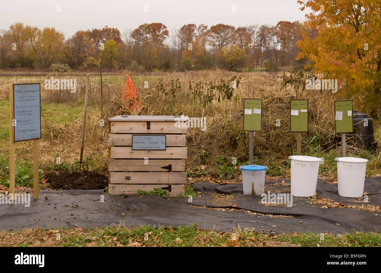Compost bin with containers to separate waste - Stock Image