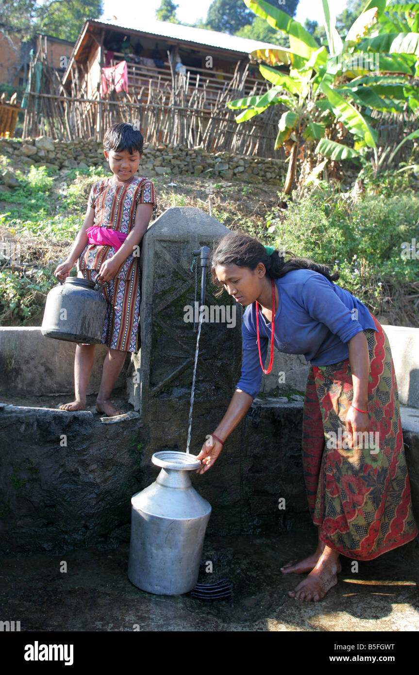 Nepal: water place in a village in the Himalaya mountains - Stock Image