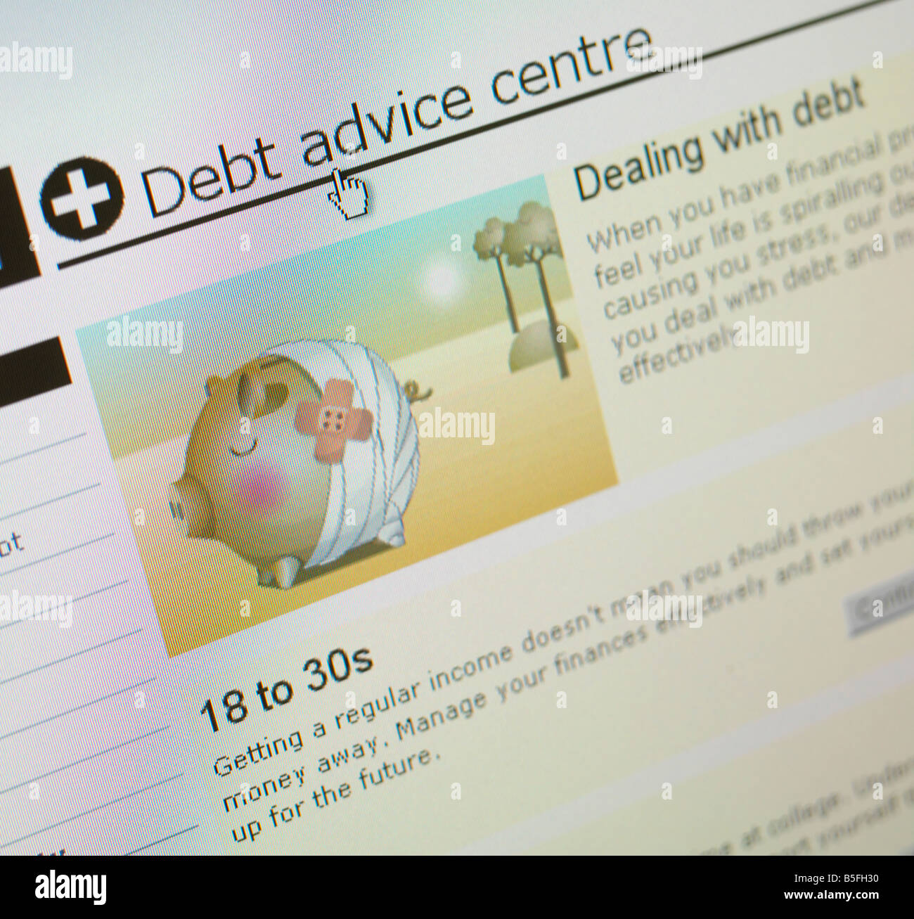 COMPUTER SCREEN WEB SITE CREDIT CRISIS CRUNCH DEBT ADVICE - Stock Image
