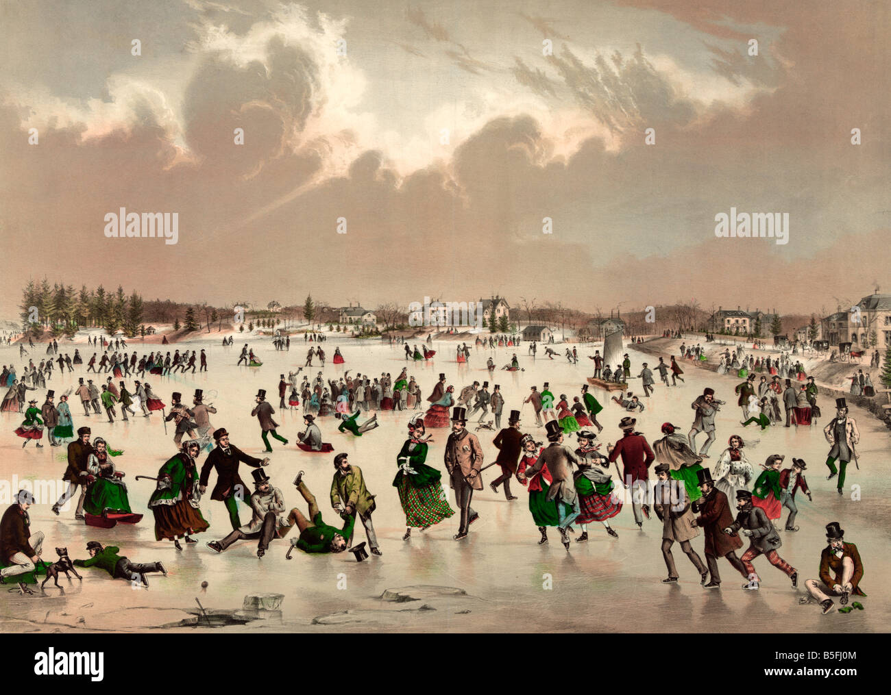 Ice skating on frozen pond in the mid 1800's - Stock Image