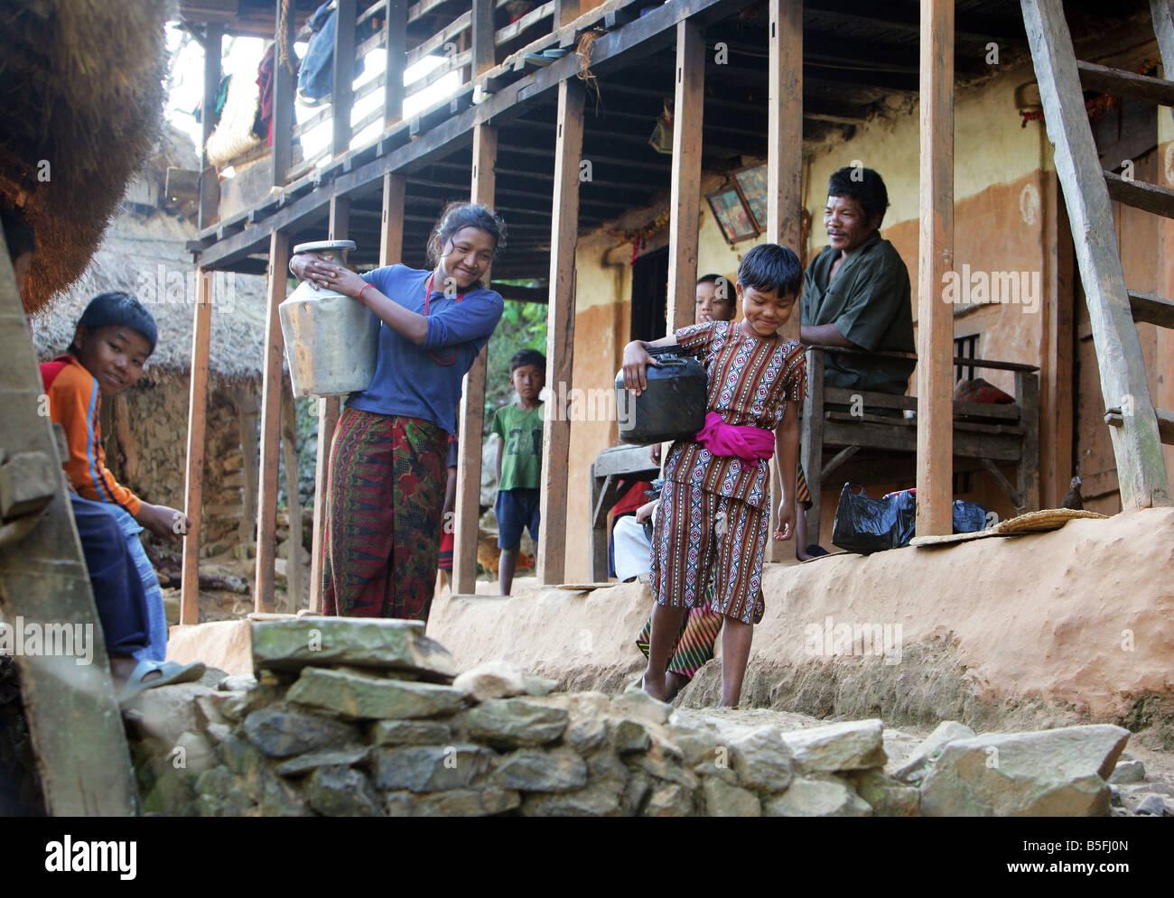 Nepal, village in the Himalaya mountains - Stock Image