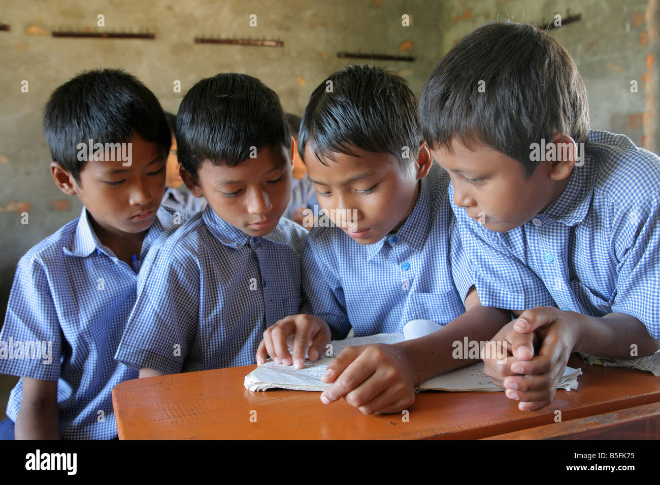 Nepal, boys during a lessons in a village school in Jayamangala - Stock Image